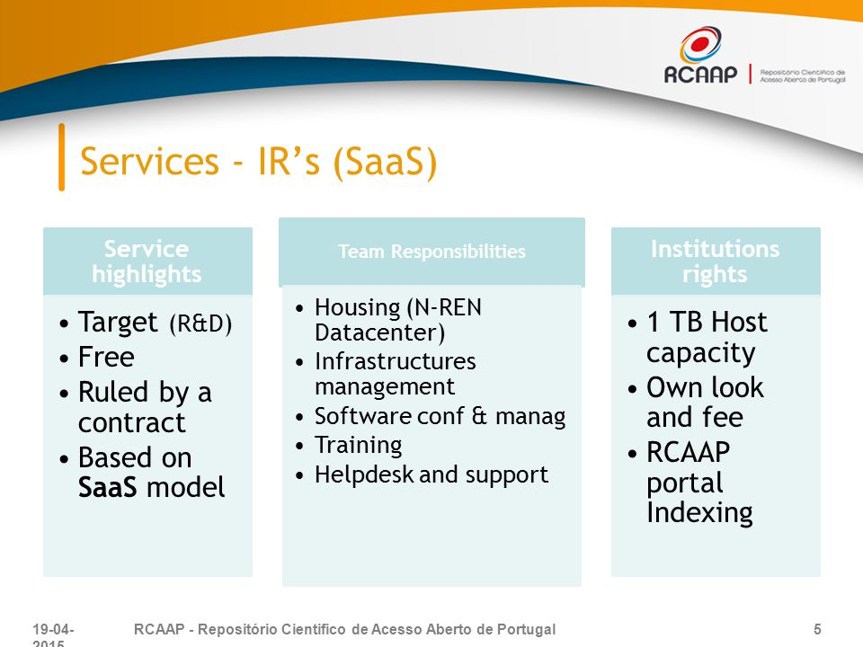 Services - IR's (SaaS) Service highlights Target (R&D) Free Ruled by a contract Based on SaaS model Team Responsibilities Housing (N-REN Datacenter) I