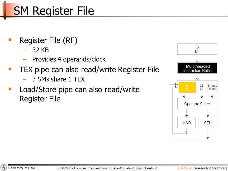 INF5063, Pål Halvorsen, Carsten Griwodz, Håvard Espeland, Håkon Stensland University of Oslo SM Register File  Register File (RF) −32 KB −Provides 4