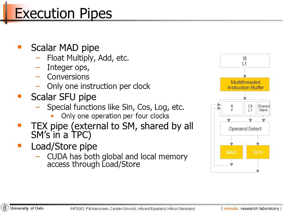 INF5063, Pål Halvorsen, Carsten Griwodz, Håvard Espeland, Håkon Stensland University of Oslo Execution Pipes  Scalar MAD pipe −Float Multiply, Add, e