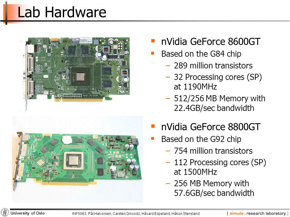 INF5063, Pål Halvorsen, Carsten Griwodz, Håvard Espeland, Håkon Stensland University of Oslo Lab Hardware  nVidia GeForce 8600GT  Based on the G84 c
