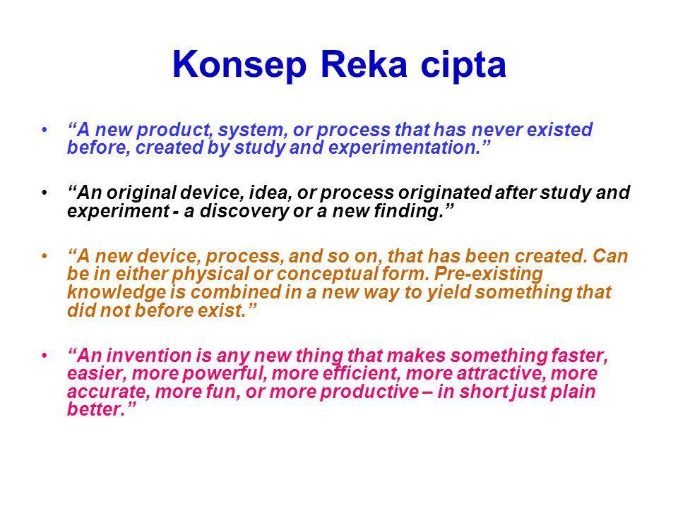 Formula Reka cipta (TRIZ method) Masalah + Idea + (Teori) + Kepakaran + R&D + Material + Modal + Paten ___________________________________ REKA CIPTA ___________________________________