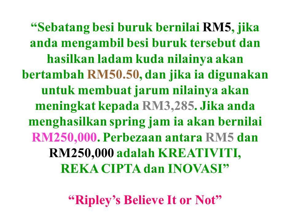 Sebatang besi buruk bernilai RM5, jika anda mengambil besi buruk tersebut dan hasilkan ladam kuda nilainya akan bertambah RM50.50, dan jika ia digunakan untuk membuat jarum nilainya akan meningkat kepada RM3,285.