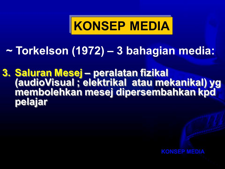 Nota Haz KDP OUM 2007 KONSEP REKA BENTUK PENGAJARAN (Richey, 1986) KONSEP MEDIA ~ Torkelson (1972) – 3 bahagian media: 2.Bentuk Mesej – bagaimana mesej itu disimpan (dalam bentuk perkataan, lisan gambar, objek, simbol) 2.Bentuk Mesej – bagaimana mesej itu disimpan (dalam bentuk perkataan, lisan gambar, objek, simbol)