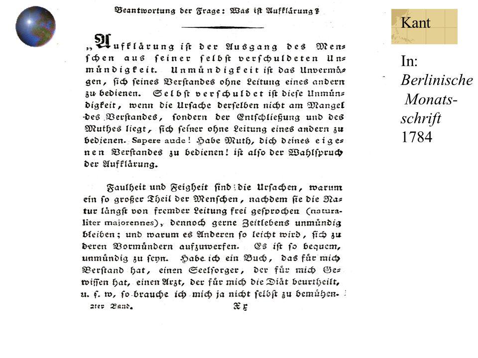 Kant In: Berlinische Monats- schrift 1784