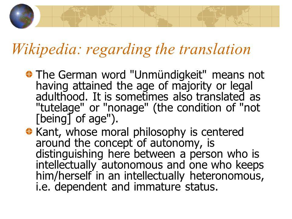 Wikipedia: regarding the translation The German word
