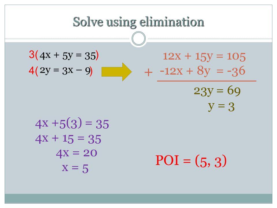 Solve using elimination 4x + 5y = 35 2y = 3x – 9 + 12x + 15y = 105 -12x + 8y = -36 23y = 69 y = 3 3( ) 4x +5(3) = 35 4x + 15 = 35 4x = 20 x = 5 POI =