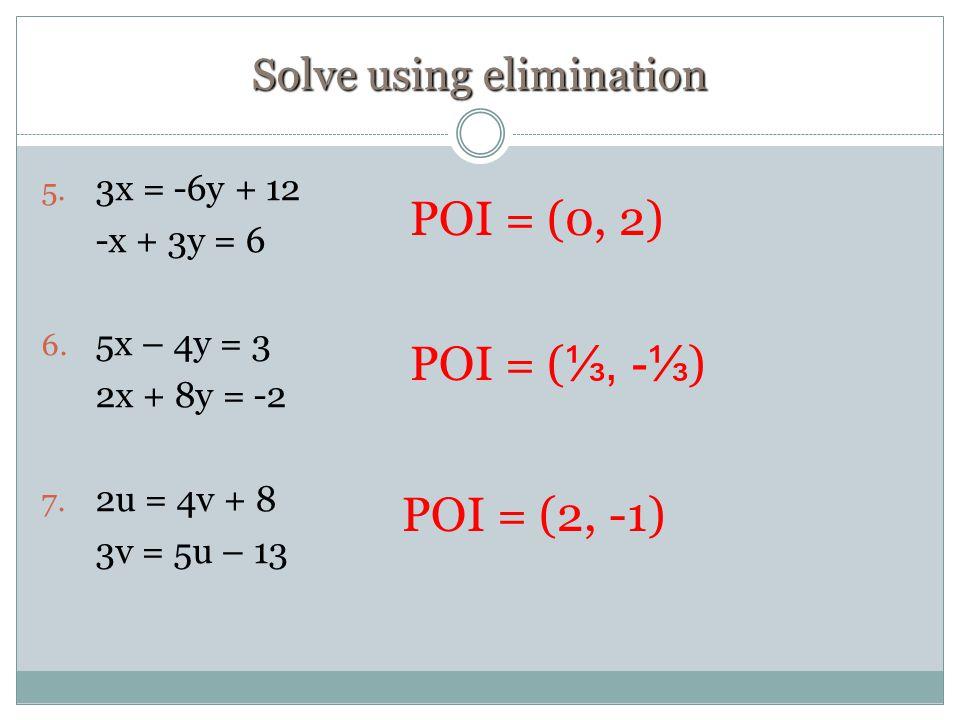 Solve using elimination 5. 3x = -6y + 12 -x + 3y = 6 6.