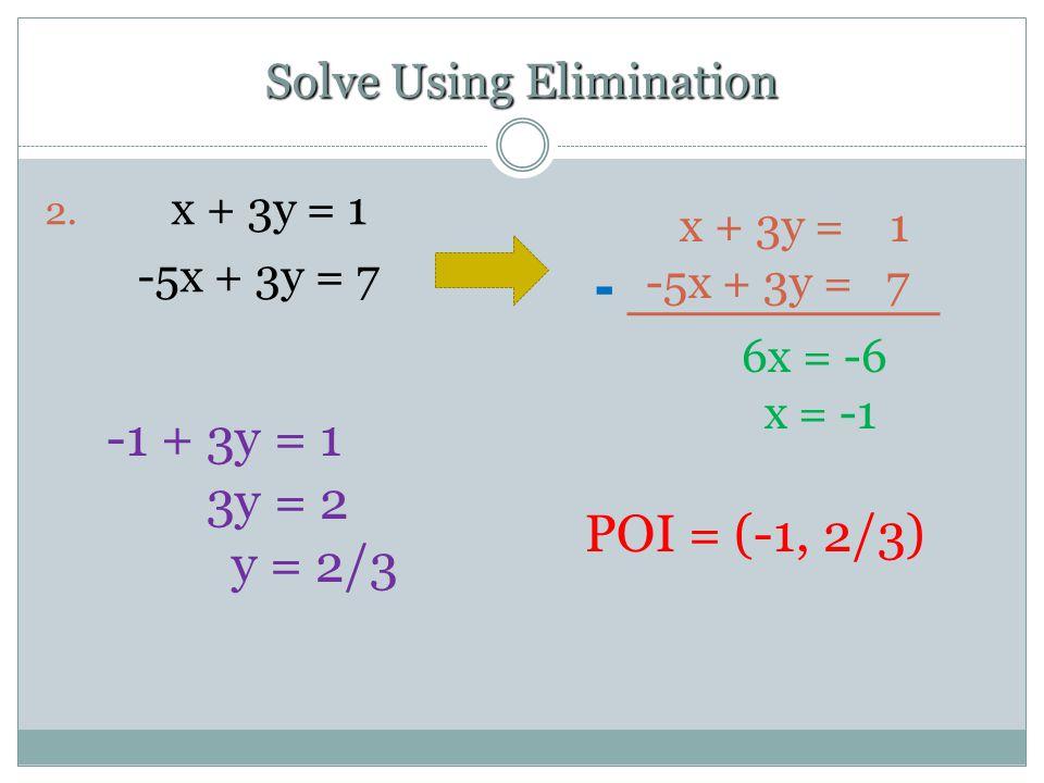 Solve Using Elimination 2.