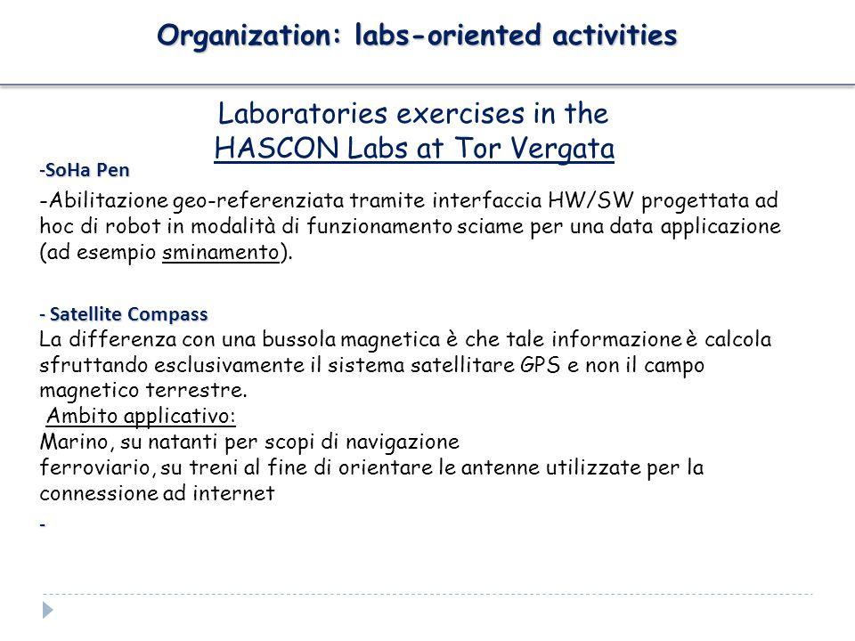Organization: labs-oriented activities Laboratories exercises in the HASCON Labs at Tor Vergata -SoHa Pen -Abilitazione geo-referenziata tramite interfaccia HW/SW progettata ad hoc di robot in modalità di funzionamento sciame per una data applicazione (ad esempio sminamento).
