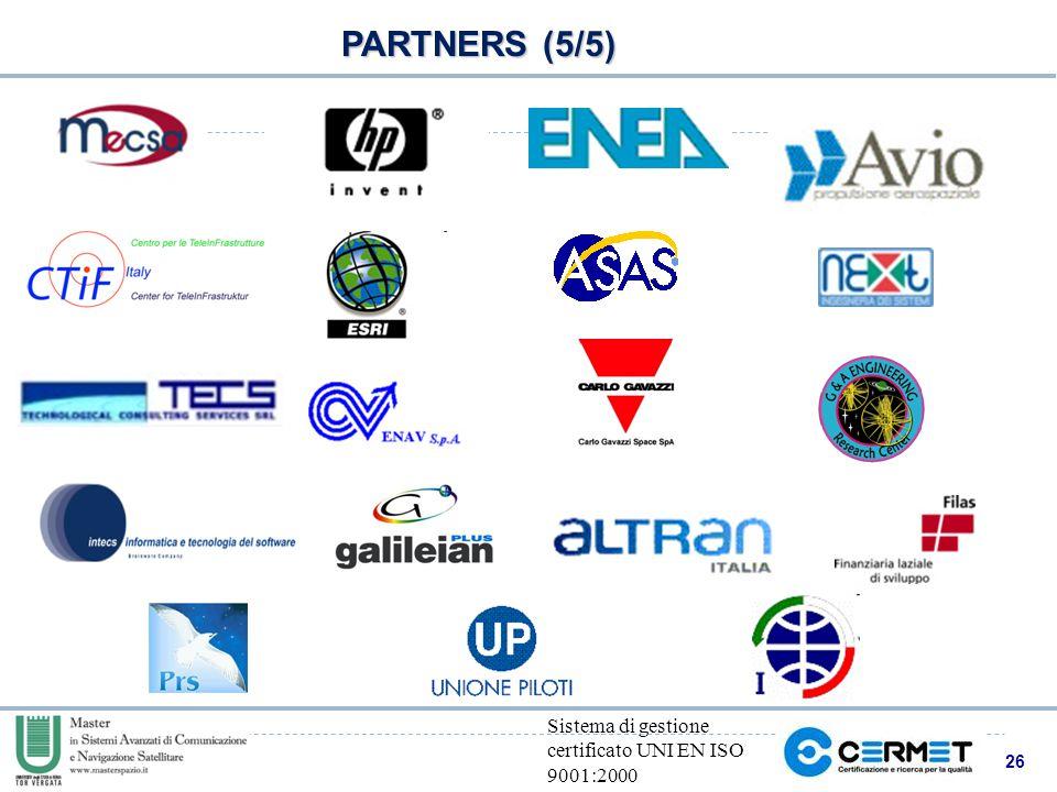 26 Sistema di gestione certificato UNI EN ISO 9001:2000 PARTNERS (5/5)