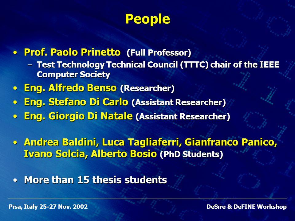 Pisa, Italy 25-27 Nov. 2002DeSire & DeFINE WorkshopPeople Prof.