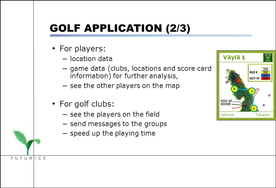 For players: – location data – game data (clubs, locations and score card information) for further analysis, – see the other players on the map For go
