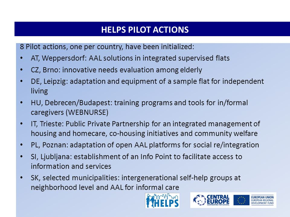 HELPS PILOT ACTIONS 8 Pilot actions, one per country, have been initialized: AT, Weppersdorf: AAL solutions in integrated supervised flats CZ, Brno: innovative needs evaluation among elderly DE, Leipzig: adaptation and equipment of a sample flat for independent living HU, Debrecen/Budapest: training programs and tools for in/formal caregivers (WEBNURSE) IT, Trieste: Public Private Partnership for an integrated management of housing and homecare, co-housing initiatives and community welfare PL, Poznan: adaptation of open AAL platforms for social re/integration SI, Ljubljana: establishment of an Info Point to facilitate access to information and services SK, selected municipalities: intergenerational self-help groups at neighborhood level and AAL for informal care