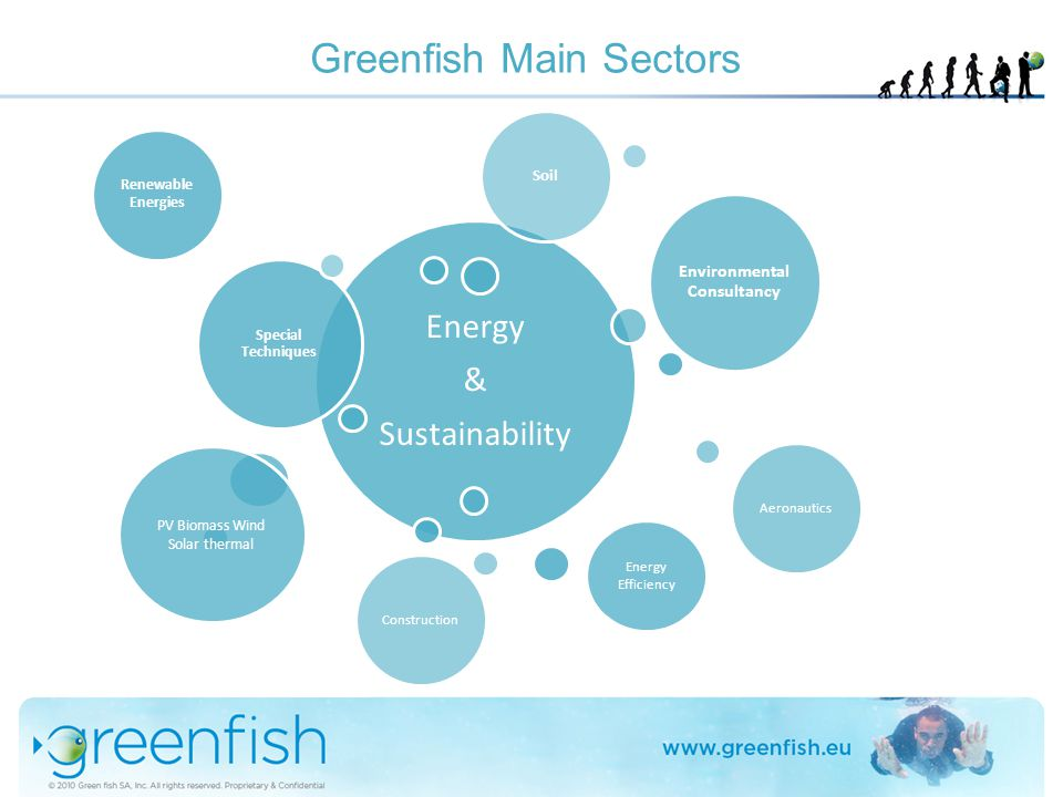 Greenfish Main Sectors Energy & Sustainability Special Techniques Environmental Consultancy Aeronautics Construction Soil Renewable Energies PV Biomas