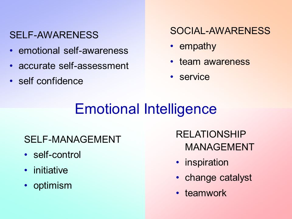 SELF-AWARENESS emotional self-awareness accurate self-assessment self confidence SELF-MANAGEMENT self-control initiative optimism SOCIAL-AWARENESS empathy team awareness service RELATIONSHIP MANAGEMENT inspiration change catalyst teamwork Emotional Intelligence