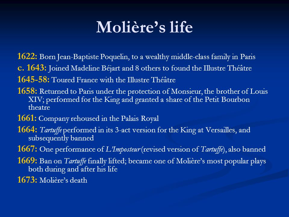 Lost versions of the play First performance at Versailles on May 12,1664: only three acts (possibly the current Acts I, III and IV) Mariane and Valère's plot may not have been so developed (or even present) in this version of the play well-received by Louis XIV Second version performed in Paris on August 5, 1667: five acts renamed Panulphe impostor no longer dressed as a religious man banned after just one performance Final version performed 5 February 1669