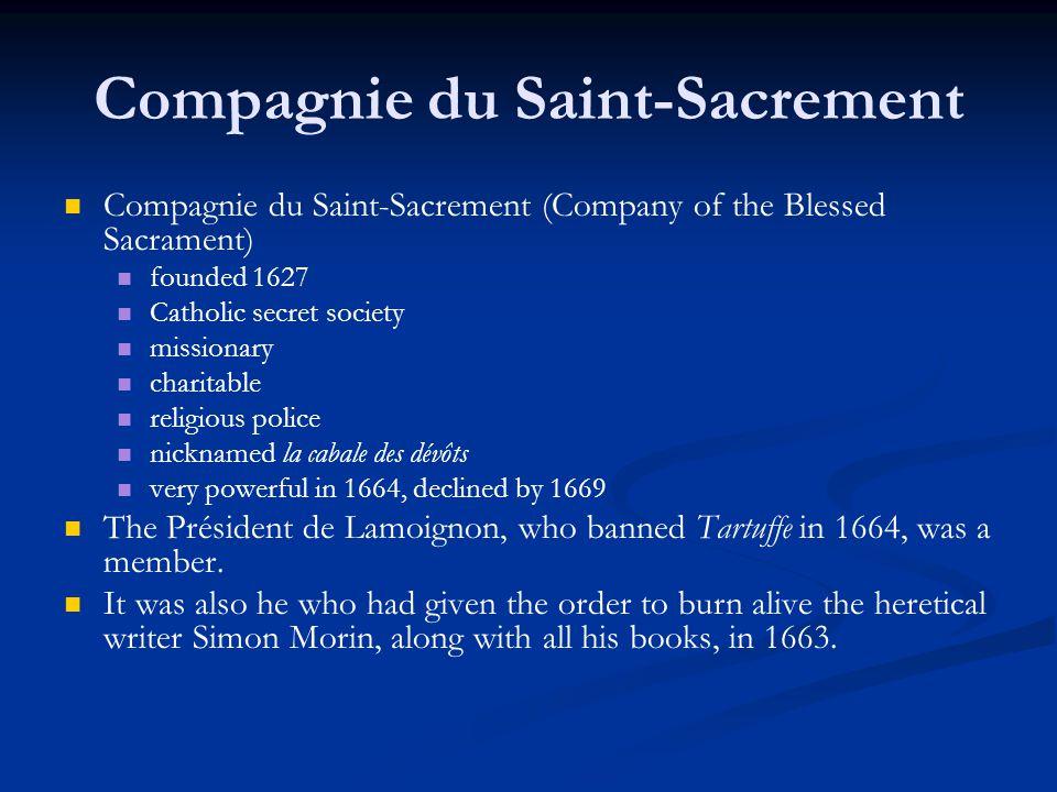 Compagnie du Saint-Sacrement Compagnie du Saint-Sacrement (Company of the Blessed Sacrament) founded 1627 Catholic secret society missionary charitabl