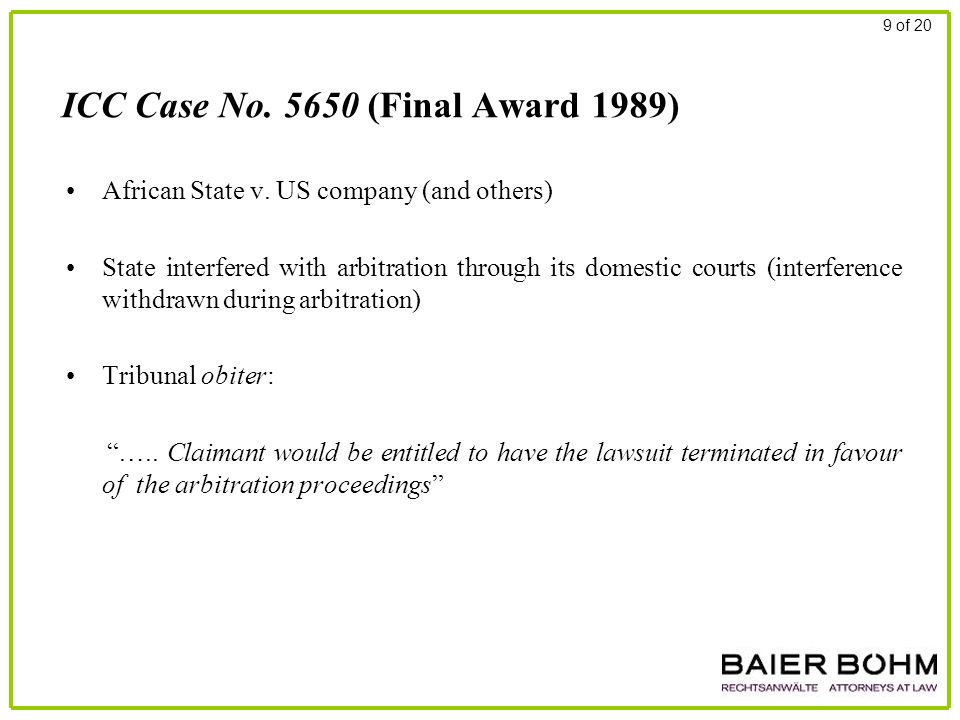 ICC Case No. 5650 (Final Award 1989) African State v. US company (and others) State interfered with arbitration through its domestic courts (interfere