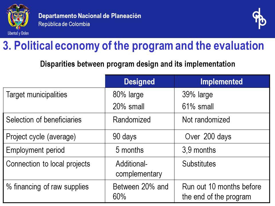 Departamento Nacional de Planeación República de Colombia Disparities between program design and its implementation 3.