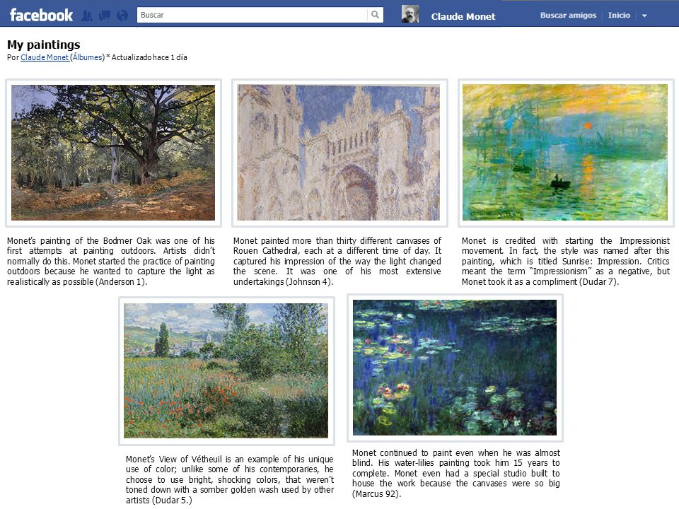 My paintings Por Claude Monet (Álbumes) * Actualizado hace 1 díaClaude Monet Monet's painting of the Bodmer Oak was one of his first attempts at paint