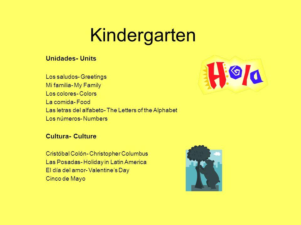 Kindergarten Unidades- Units Los saludos- Greetings Mi familia- My Family Los colores- Colors La comida- Food Las letras del alfabeto- The Letters of