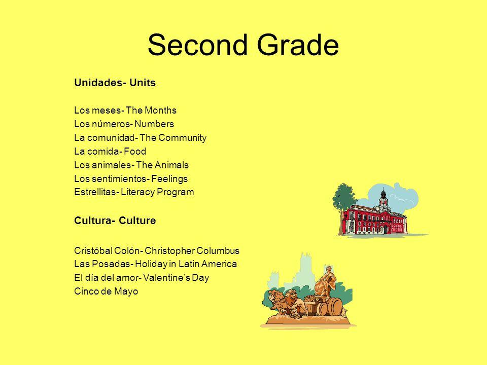 Second Grade Unidades- Units Los meses- The Months Los números- Numbers La comunidad- The Community La comida- Food Los animales- The Animals Los sent