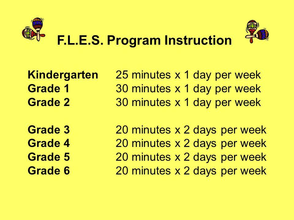Kindergarten 25 minutes x 1 day per week Grade 1 30 minutes x 1 day per week Grade 2 30 minutes x 1 day per week Grade 3 20 minutes x 2 days per week Grade 4 20 minutes x 2 days per week Grade 5 20 minutes x 2 days per week Grade 6 20 minutes x 2 days per week F.L.E.S.