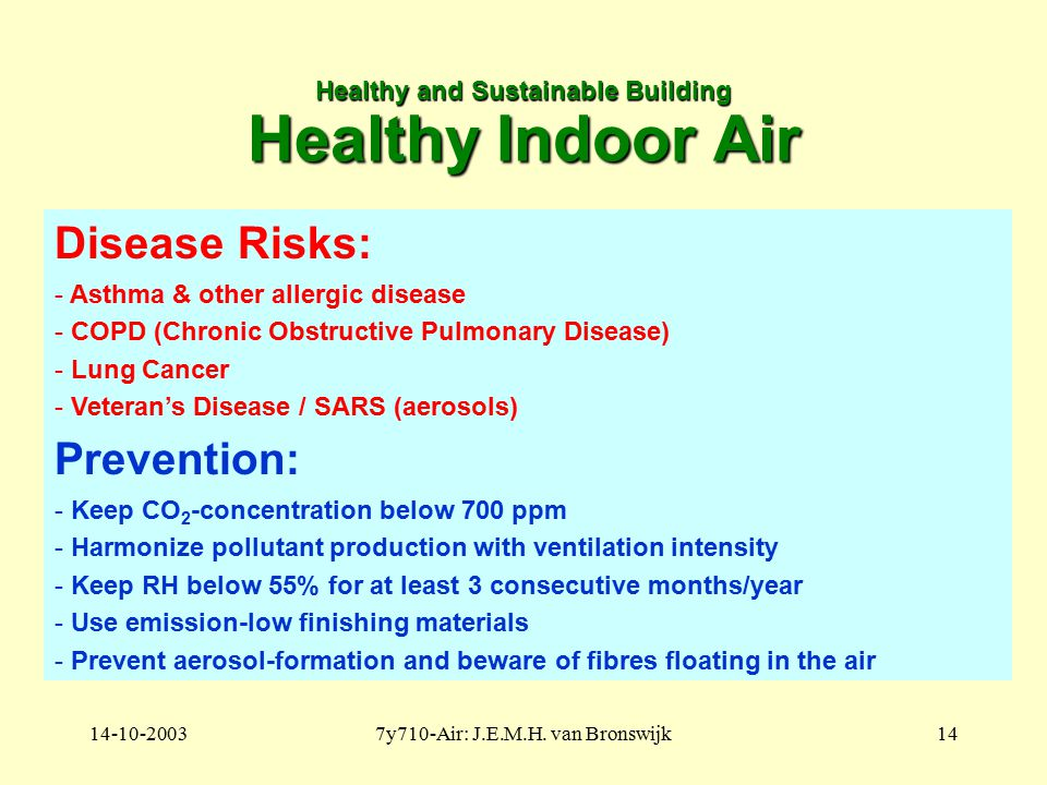 14-10-20037y710-Air: J.E.M.H. van Bronswijk14 Healthy and Sustainable Building Healthy Indoor Air Disease Risks: - Asthma & other allergic disease - C