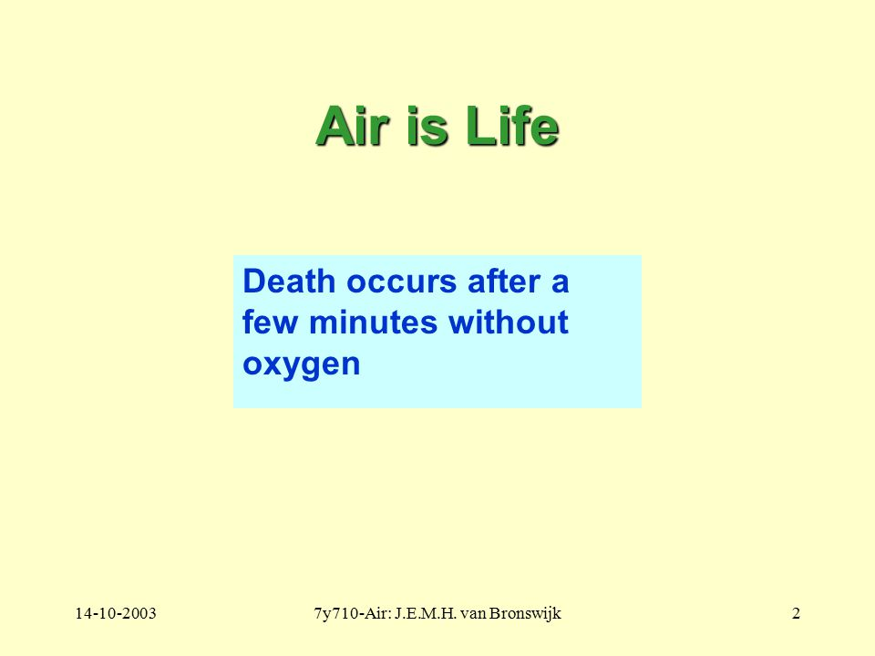 14-10-20037y710-Air: J.E.M.H. van Bronswijk2 Air is Life Death occurs after a few minutes without oxygen