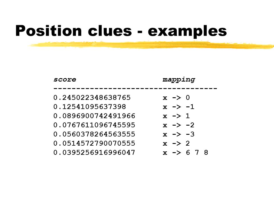 Position clues - examples scoremapping ------------------------------------ 0.245022348638765 x -> 0 0.12541095637398 x -> -1 0.0896900742491966 x -> 1 0.0767611096745595 x -> -2 0.0560378264563555 x -> -3 0.0514572790070555 x -> 2 0.0395256916996047 x -> 6 7 8