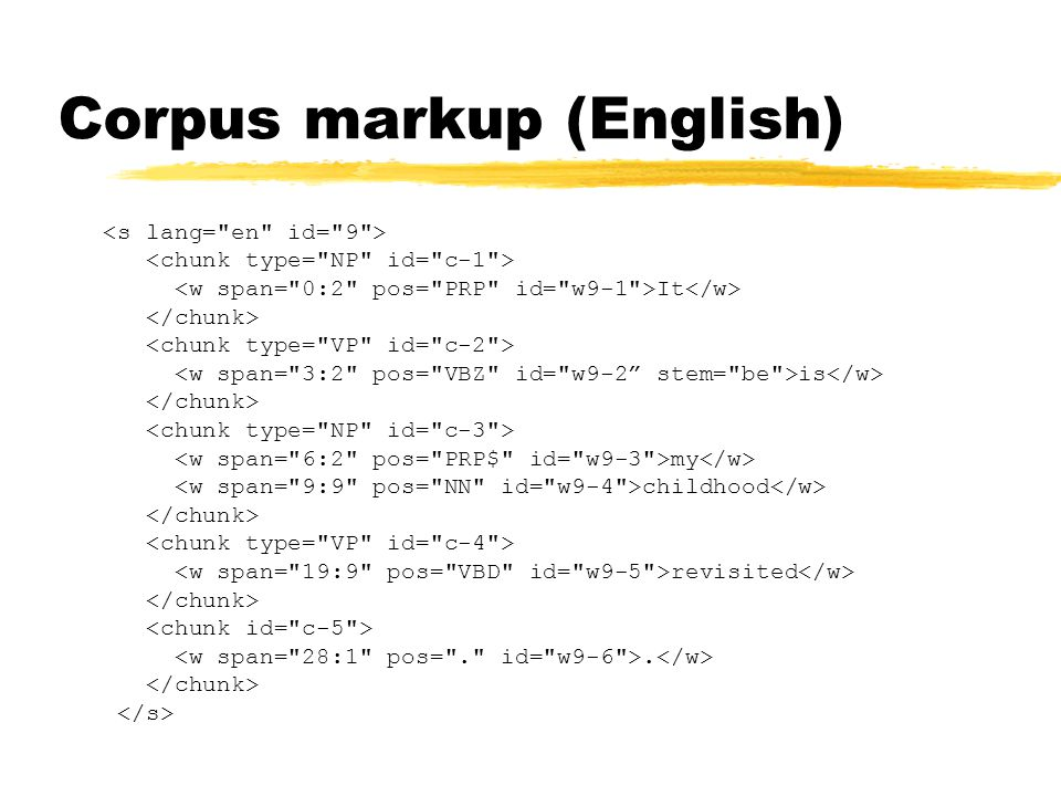 Corpus markup (English) It is my childhood revisited.
