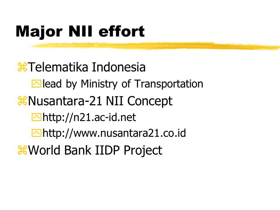 Major NII effort zTelematika Indonesia ylead by Ministry of Transportation zNusantara-21 NII Concept yhttp://n21.ac-id.net yhttp://www.nusantara21.co.id zWorld Bank IIDP Project