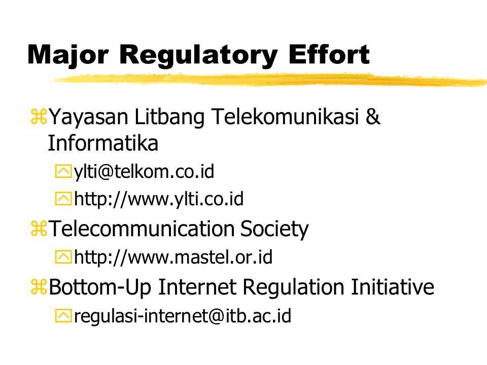 Major Regulatory Effort zYayasan Litbang Telekomunikasi & Informatika yylti@telkom.co.id yhttp://www.ylti.co.id zTelecommunication Society yhttp://www.mastel.or.id zBottom-Up Internet Regulation Initiative yregulasi-internet@itb.ac.id