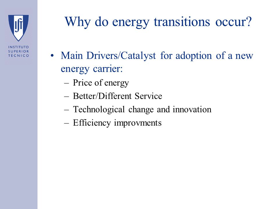 Why do energy transitions occur.