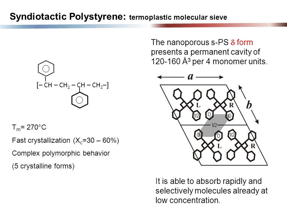 It is able to absorb rapidly and selectively molecules already at low concentration. Syndiotactic Polystyrene: termoplastic molecular sieve  – CH – C