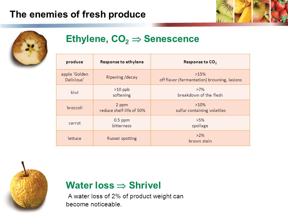 produceResponse to ethyleneResponse to CO 2 apple 'Golden Delicious' Ripening /decay >15% off flavor (fermentation) browning, lesions kiwi >10 ppb sof