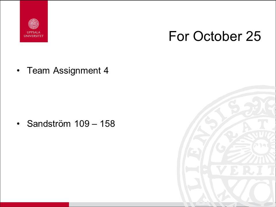 For October 25 Team Assignment 4 Sandström 109 – 158