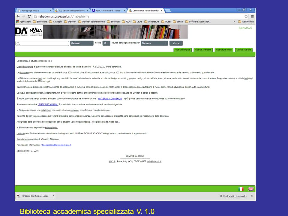 Biblioteca accademica specializzata V. 1.0
