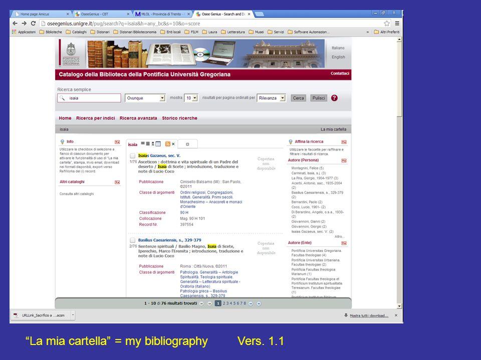 La mia cartella = my bibliographyVers. 1.1