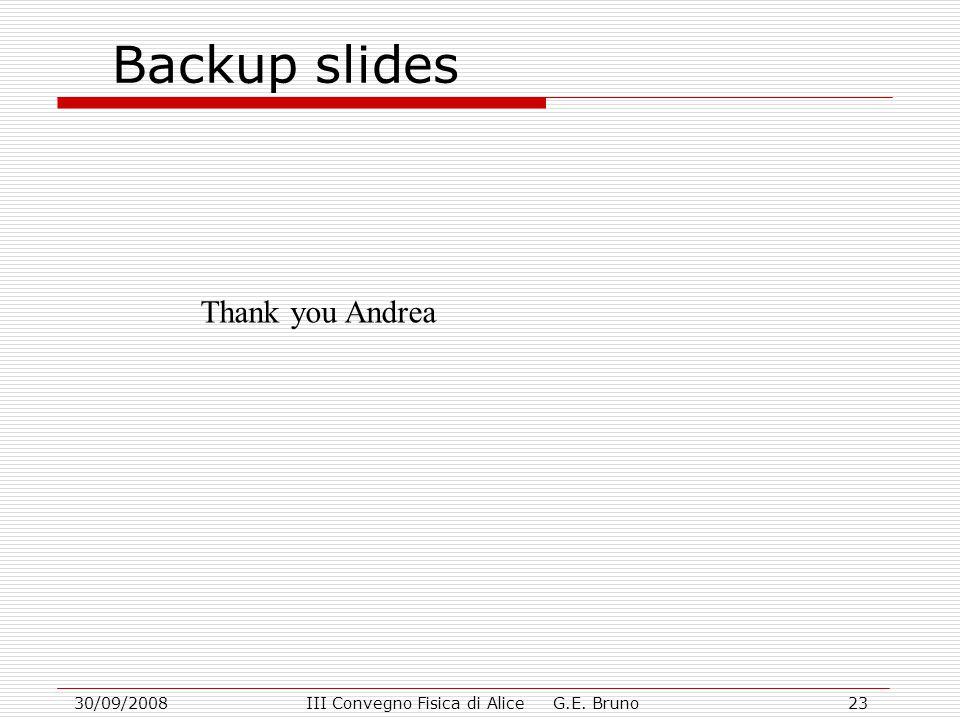 30/09/2008III Convegno Fisica di Alice G.E. Bruno23 Backup slides Thank you Andrea