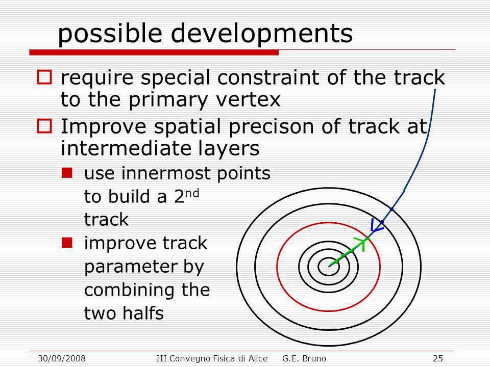 30/09/2008III Convegno Fisica di Alice G.E. Bruno25 possible developments  require special constraint of the track to the primary vertex  Improve sp