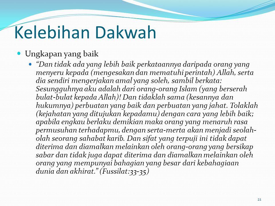 22 Kelebihan Dakwah Ganjaran seperti pelaku Rasulullah s.a.w telah bersabda, Sesiapa yang mengajak kepada sesuatu kebaikan, maka dia mendapat sepertimana yang diganjarkan kepada orang yang melakukan kebaikan tersebut. –Riwayat Muslim