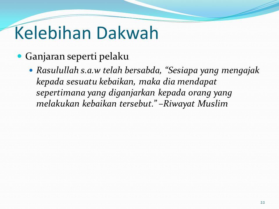 23 Kelebihan Dakwah Abu Hurairah berkata: Sesungguhnya Rasulullah s.a.w telah bersabda, Sesiapa yang mengajak kepada petunjuk, dia akan memperoleh ganjaran sepertimana ganjaran yang diterima oleh orang yang mengikut ajarannya, tidak kurang sedikit pun dari ganjaran tersebut.