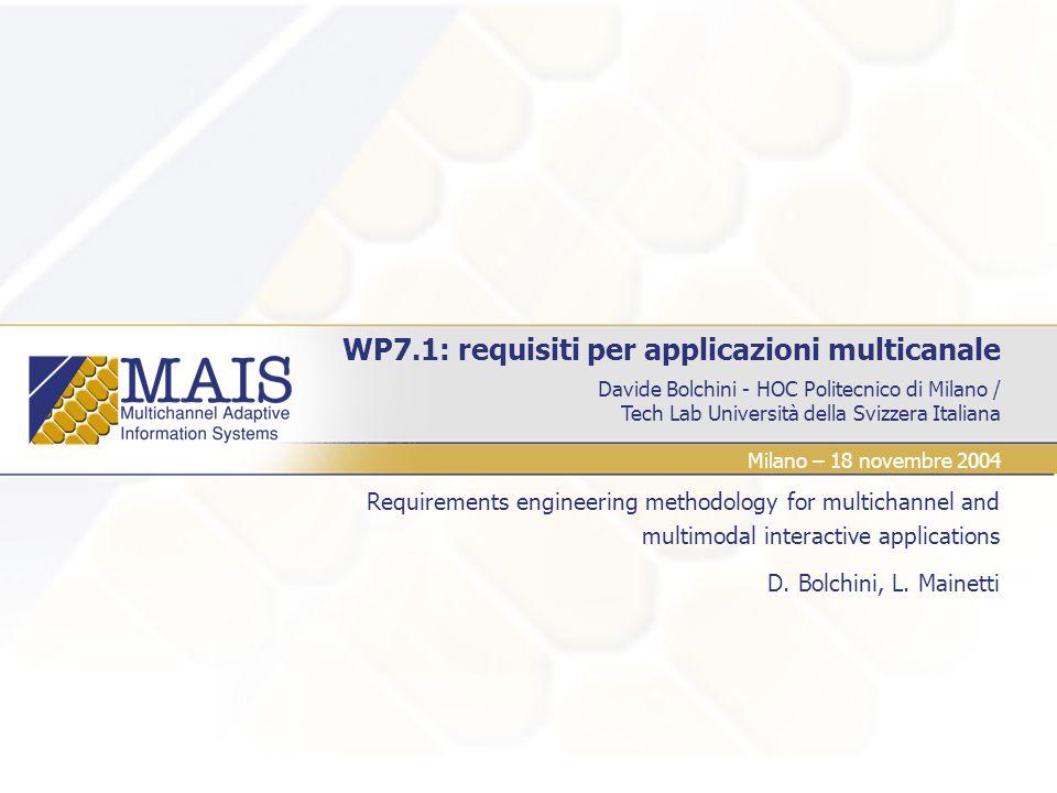 Davide Bolchini - HOC Politecnico di Milano / Tech Lab Università della Svizzera Italiana WP7.1: requisiti per applicazioni multicanale Requirements e