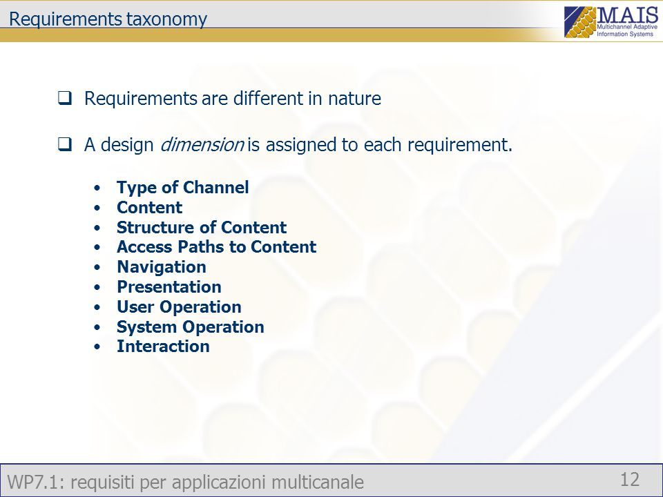 WP7.1: requisiti per applicazioni multicanale 12 Requirements taxonomy  Requirements are different in nature  A design dimension is assigned to each requirement.