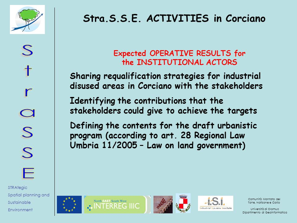 STRAtegic Spatial planning and Sustainable Environment Comunità Montata del Torre, Natisone e Collio Università di Olomuc Dipartimento di Geoinformatica Stra.S.S.E.