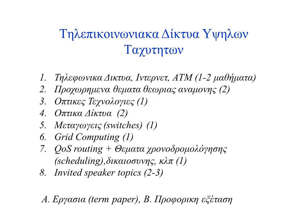 Τηλεπικοινωνιακα Δίκτυα Υψηλων Ταχυτητων 1.Τηλεφωνικα Δικτυα, Ιντερνετ, ΑΤΜ (1-2 μαθήματα) 2.Προχωρημενα θεματα θεωριας αναμονης (2) 3.Οπτικες Τεχνολογιες (1) 4.Οπτικα Δίκτυα (2) 5.Μεταγωγεις (switches) (1) 6.Grid Computing (1) 7.QoS routing + Θεματα χρονοδρομολόγησης (scheduling),δικαιοσυνης, κλπ (1) 8.Invited speaker topics (2-3) Α.