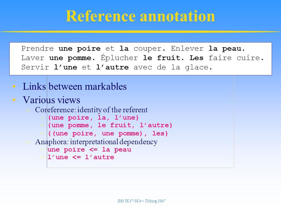 ISO TC37/SC4 – Tilburg 2007 Reference annotation Links between markables Various views –Coreference: identity of the referent –{une poire, la, l'une} –{une pomme, le fruit, l'autre} –{(une poire, une pomme), les} –Anaphora: interpretational dependency –une poire <= la peau –l'une <= l'autre Prendre une poire et la couper.