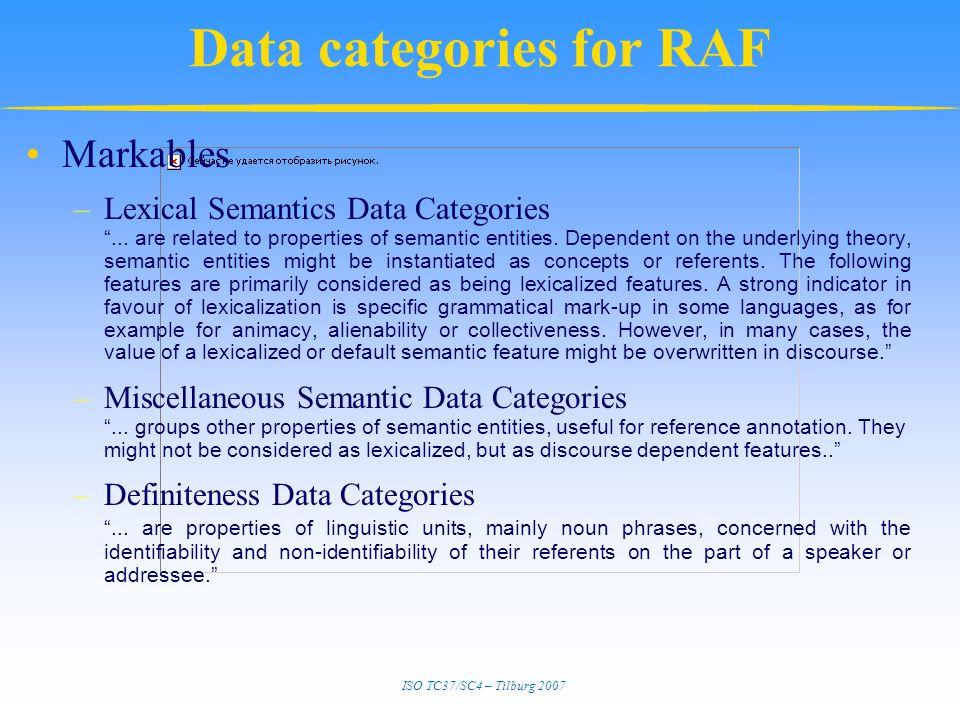 ISO TC37/SC4 – Tilburg 2007 Data categories for RAF Markables –Lexical Semantics Data Categories ...