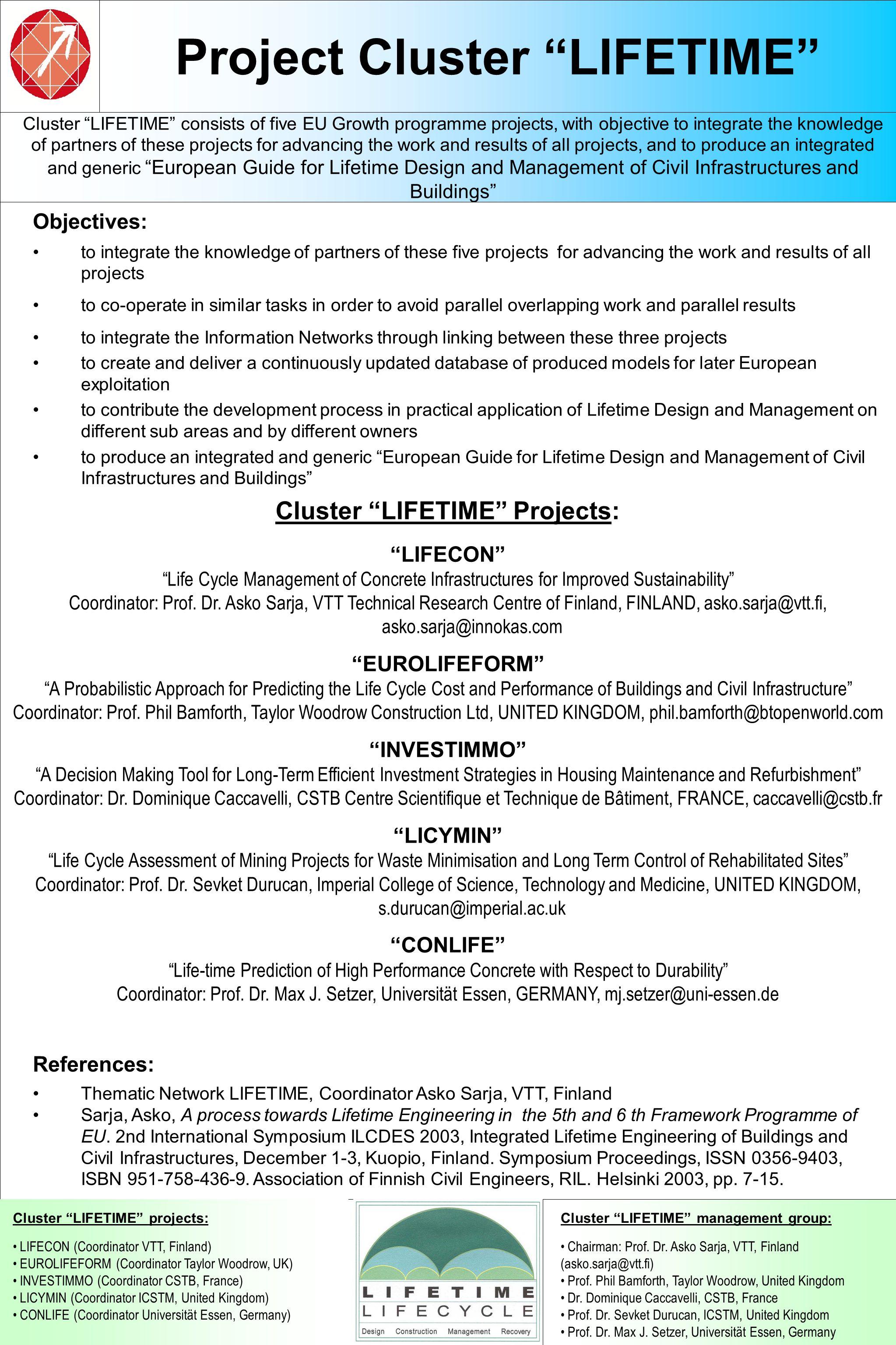 Project Cluster LIFETIME Cluster LIFETIME management group: Chairman: Prof.